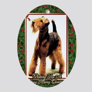 Airedale Terrier Dog Christmas Oval Ornament