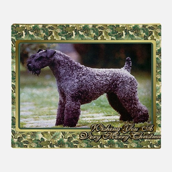 Kerry Blue Terrier Dog Christmas Throw Blanket