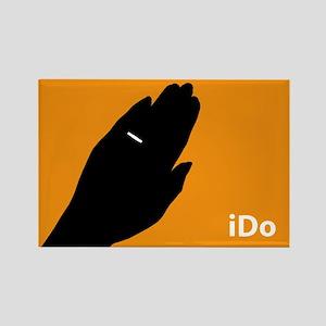 """""""I Do"""" Wedding Ring Orange Rectangle Magnet"""