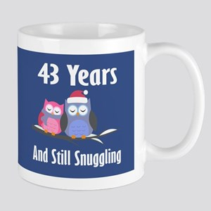 Cute 43rd Anniversary Snuggly Owls Mugs