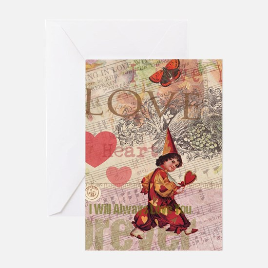 Love Heart Vintage Collage Greeting Cards