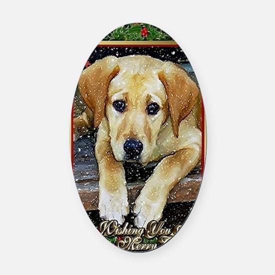 Labrador Retriever Dog Christmas Oval Car Magnet