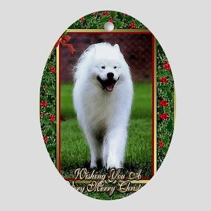 Samoyed Dog Christmas Oval Ornament