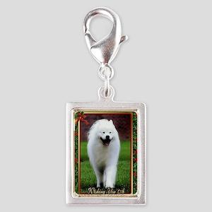 Samoyed Dog Christmas Silver Portrait Charm