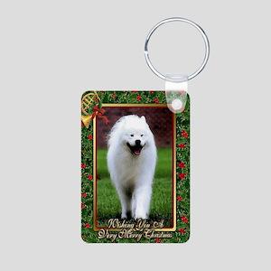 Samoyed Dog Christmas Aluminum Photo Keychain