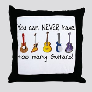 Too many guitars Throw Pillow
