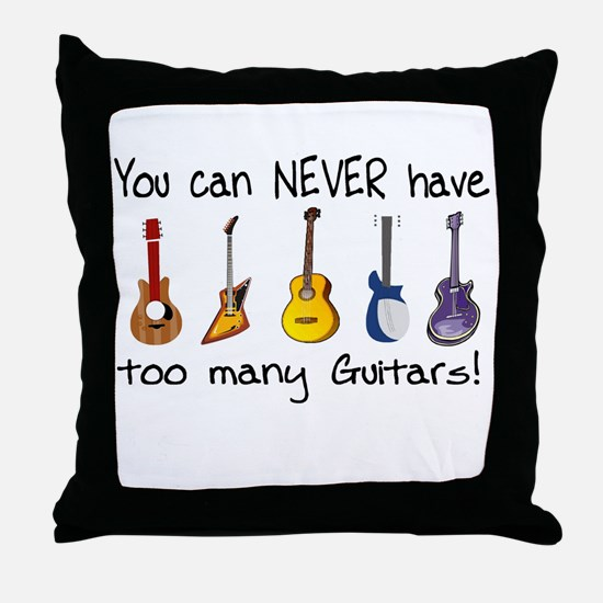 Too many guitars Throw Pillow