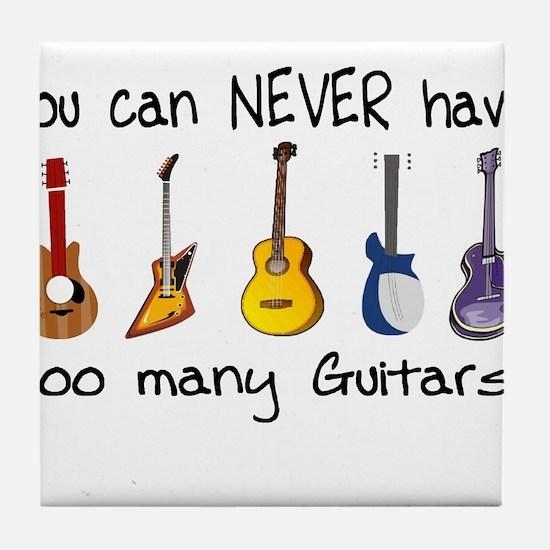 Too many guitars Tile Coaster