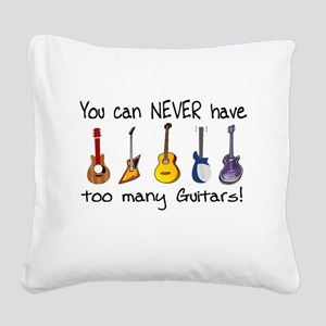 Too many guitars Square Canvas Pillow