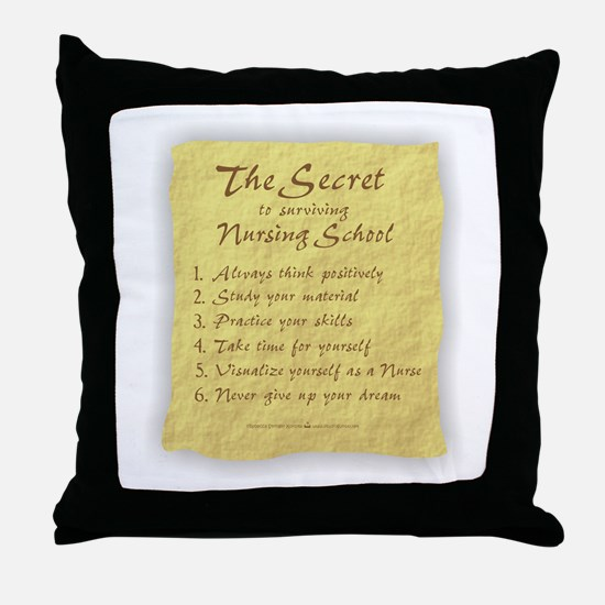 The Secret to Nursing School Throw Pillow