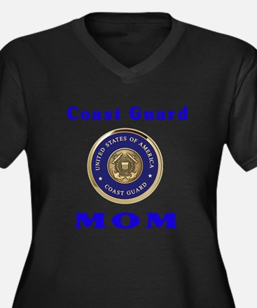 COAST GUARD MOM Women's Plus Size V-Neck Dark T-Sh