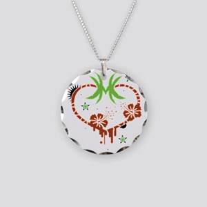 Palm heart Necklace Circle Charm