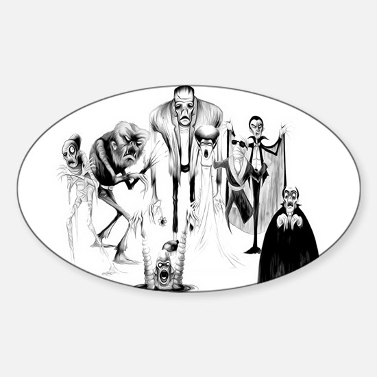 Classic movie monsters Sticker (Oval)