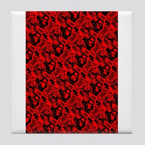 Red Black Abstract Fire 4Frank Tile Coaster