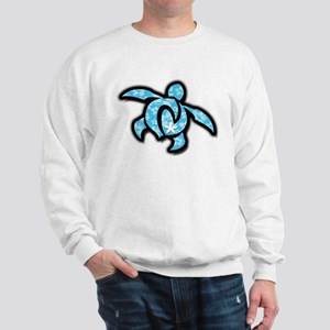 blue hawaiian print turtle Sweatshirt