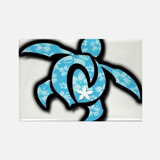 blue hawaiian print turtle Rectangle Magnet