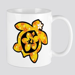 Hawaiian print turtle in orange Mug
