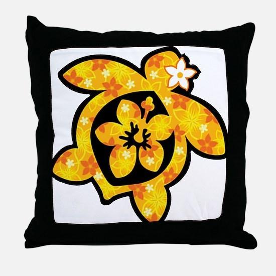 Hawaiian print turtle in orange Throw Pillow