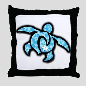 blue hawaiian print turtle Throw Pillow