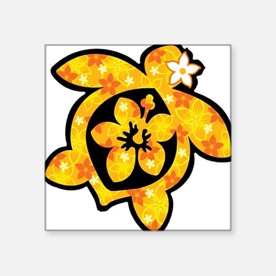 "Hawaiian print turtle in orange Square Sticker 3"""