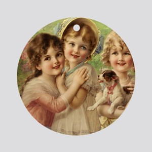 Vintage Victoria oil painting. Best Round Ornament