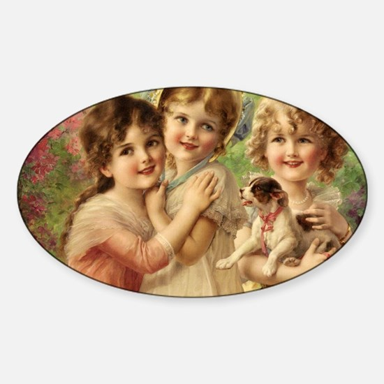 Vintage Victoria oil painting. Best Sticker (Oval)