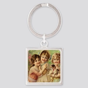 Vintage Victoria oil painting. Bes Square Keychain