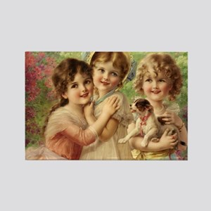 Vintage Victoria oil painting. Be Rectangle Magnet