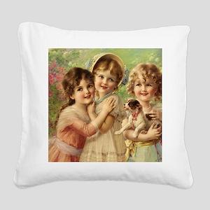 Vintage Victoria oil painting Square Canvas Pillow