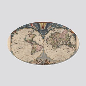 Vintage World Map 17th Century Wall Decal