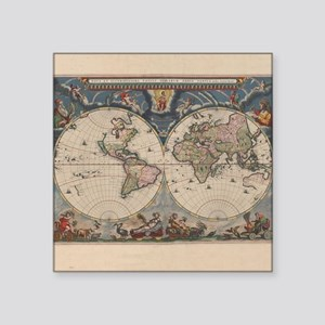 Antique world maps square stickers cafepress vintage world map 17th century sticker gumiabroncs Choice Image