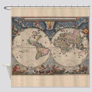 Vintage World Map 17th Century Shower Curtain
