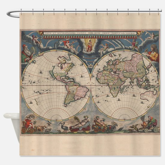 Old world maps shower curtains cafepress vintage world map 17th century shower curtain sciox Gallery