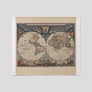 Vintage World Map 17th Century Throw Blanket