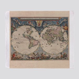 Old world map blankets cafepress vintage world map 17th century throw blanket gumiabroncs Images