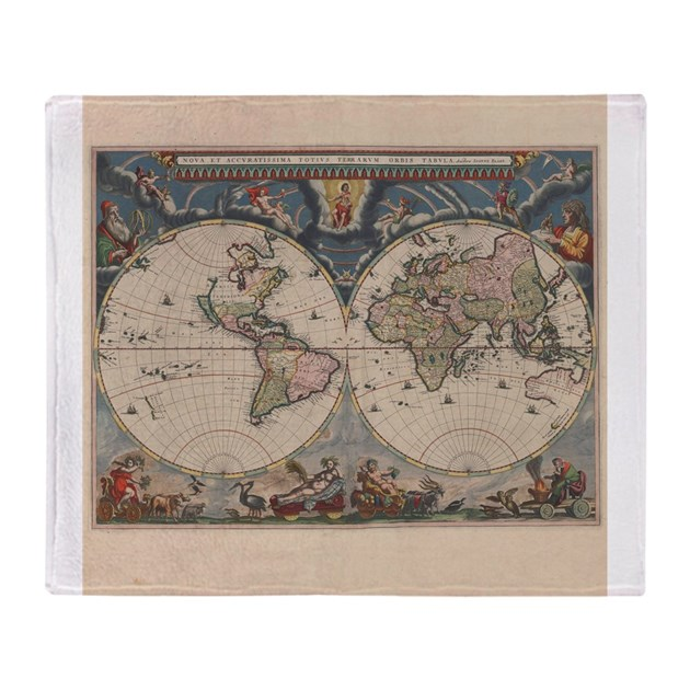 Vintage world map 17th century throw blanket by doodlefly gumiabroncs Gallery