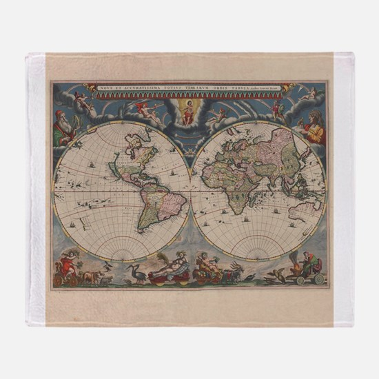 Vintage World Map 17th Century Throw Blanket