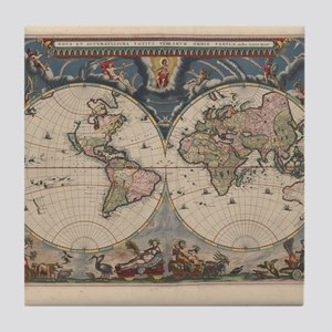 Vintage World Map 17th Century Tile Coaster