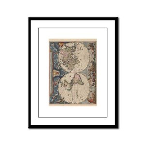 Vintage World Map 17th Century Framed Panel Print