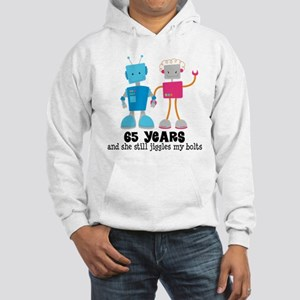 65 Year Anniversary Robot Couple Hooded Sweatshirt