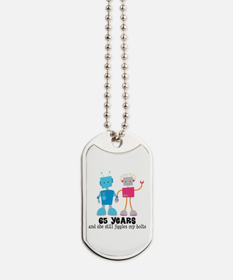 65 Year Anniversary Robot Couple Dog Tags