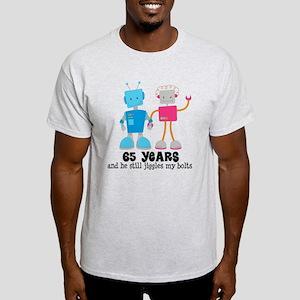65 Year Anniversary Robot Couple Light T-Shirt
