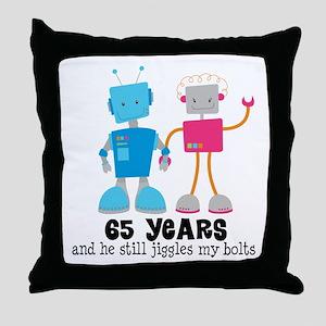 65 Year Anniversary Robot Couple Throw Pillow
