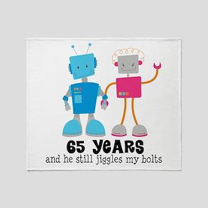 65 Year Anniversary Robot Couple Throw Blanket