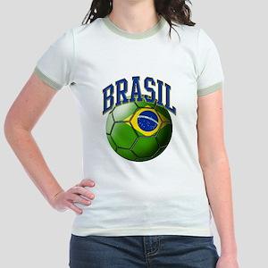 Flag of Brasil Soccer Ball Jr. Ringer T-Shirt