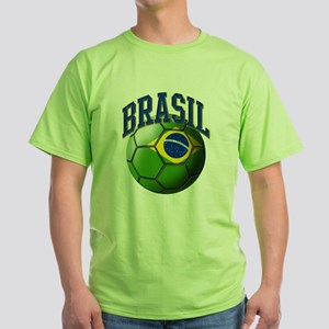Flag of Brasil Soccer Ball Green T-Shirt