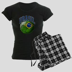 Flag of Brasil Soccer Ball Women's Dark Pajamas