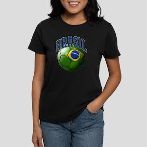 Flag of Brasil Soccer Ball Women's Dark T-Shirt