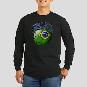 Flag of Brasil Soccer Bal Long Sleeve Dark T-Shirt