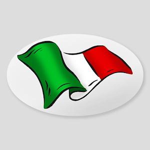 Wavy Italian Flag Sticker (Oval)